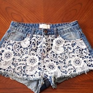 Forever 21 denim shorts with lace